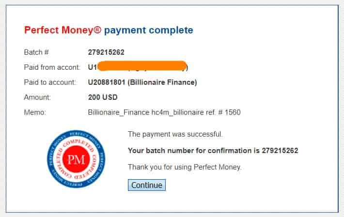 proof deposit billionaire finance - [SCAM] HYIP - Billionaire Finance Review: Earn 1.4% per day for 22 working days