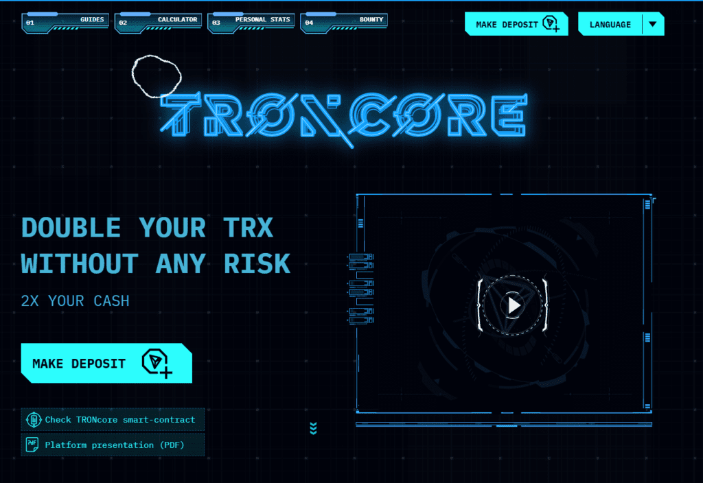 troncore hyip 1024x704 - [SCAM - KHÔNG THANH TOÁN] Troncore: Smart contract project, profit from 1% daily. SCAM or LEGIT?